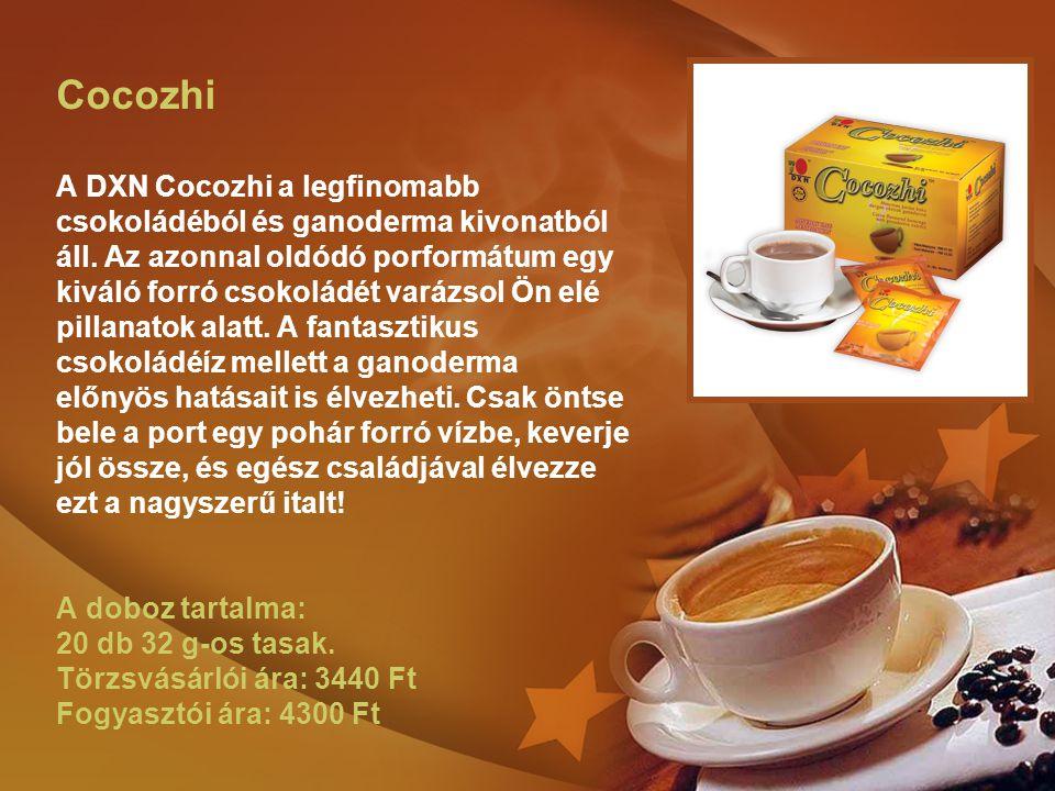 Cocozhi A DXN Cocozhi a legfinomabb csokoládéból és ganoderma kivonatból áll.