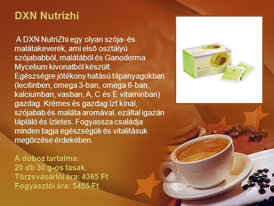 DXN Nutrizhi A DXN NutriZhi egy olyan szója- és malátakeverék, ami elsõ osztályú szójababból, malátából és Ganoderma Mycelium kivonatból készült. Egészségre jótékony hatású tápanyagokban (lecitinben, omega 3-ban, omega 6-ban, kalciumban, vasban, A, C és E vitaminban) gazdag. Krémes és gazdag ízt kínál, szójabab és maláta aromával, ezáltal igazán tápláló és ízletes. Fogyassza családja minden tagja egészségük és vitalitásuk megõrzése érdekében.