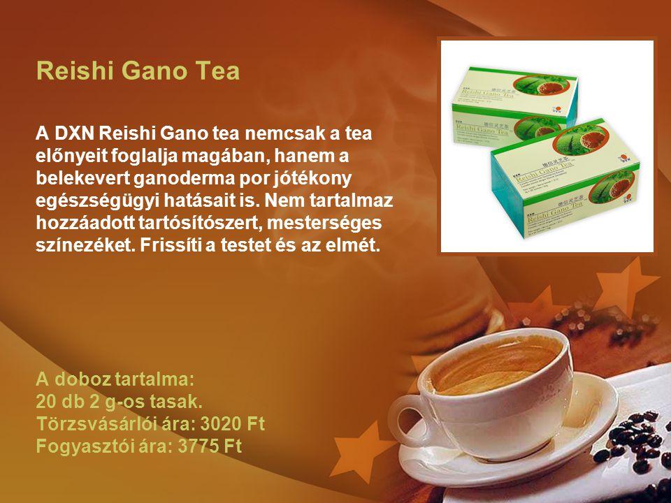 Reishi Gano Tea A DXN Reishi Gano tea nemcsak a tea előnyeit foglalja magában, hanem a belekevert ganoderma por jótékony egészségügyi hatásait is.