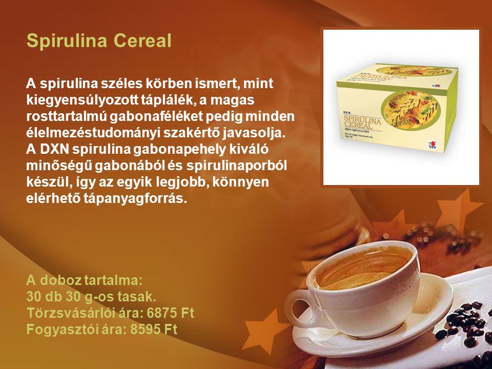 Spirulina Cereal A spirulina széles körben ismert, mint kiegyensúlyozott táplálék, a magas rosttartalmú gabonaféléket pedig minden élelmezéstudományi szakértő javasolja.