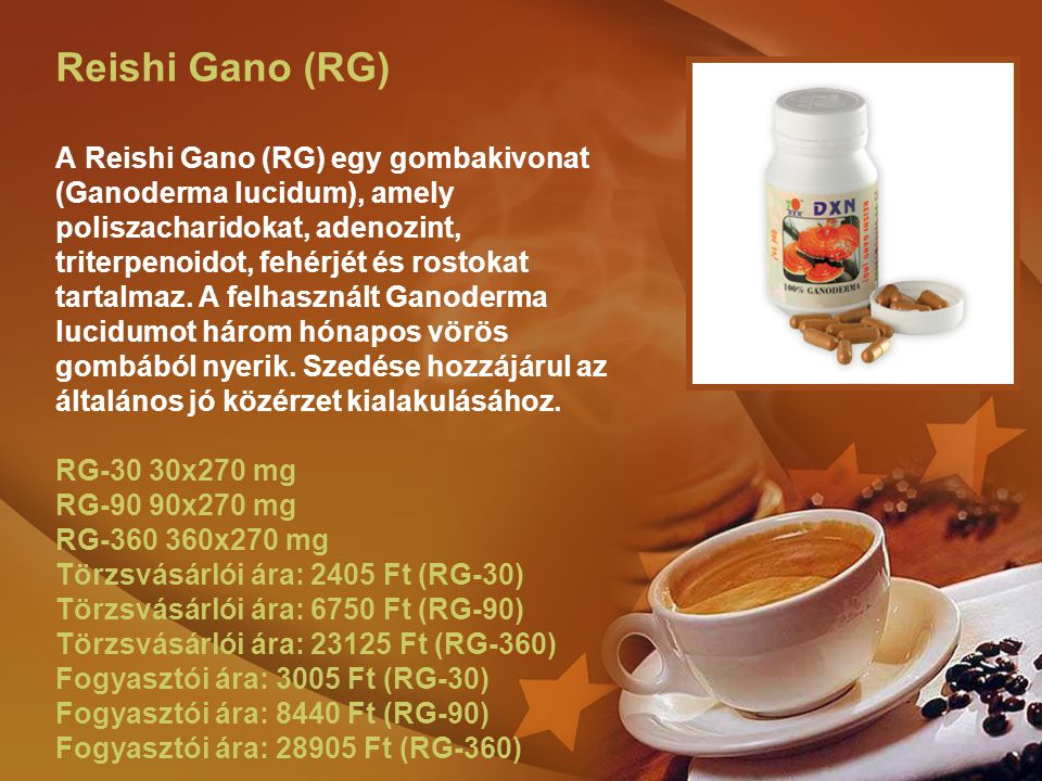 Reishi Gano (RG) A Reishi Gano (RG) egy gombakivonat (Ganoderma lucidum), amely poliszacharidokat, adenozint, triterpenoidot, fehérjét és rostokat tartalmaz.