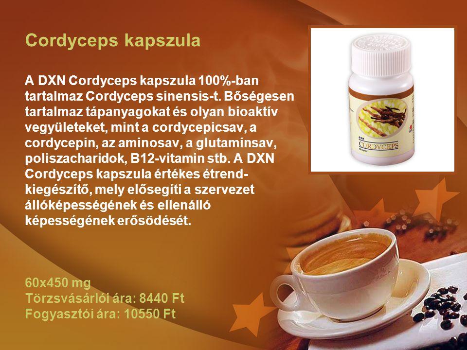 Cordyceps kapszula A DXN Cordyceps kapszula 100%-ban tartalmaz Cordyceps sinensis-t.