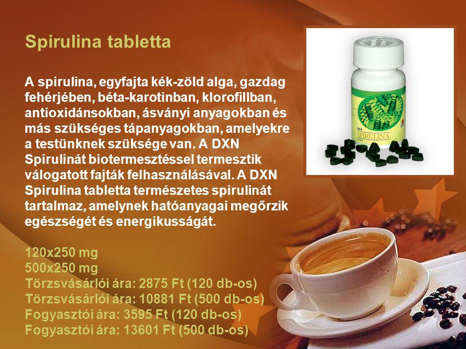 Spirulina tabletta A spirulina, egyfajta kék-zöld alga, gazdag fehérjében, béta-karotinban, klorofillban, antioxidánsokban, ásványi anyagokban és más szükséges tápanyagokban, amelyekre a testünknek szüksége van.