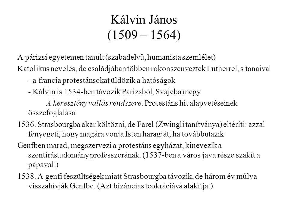Kálvin János (1509 – 1564) A párizsi egyetemen tanult (szabadelvű, humanista szemlélet)