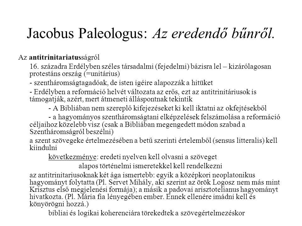 Jacobus Paleologus: Az eredendő bűnről.