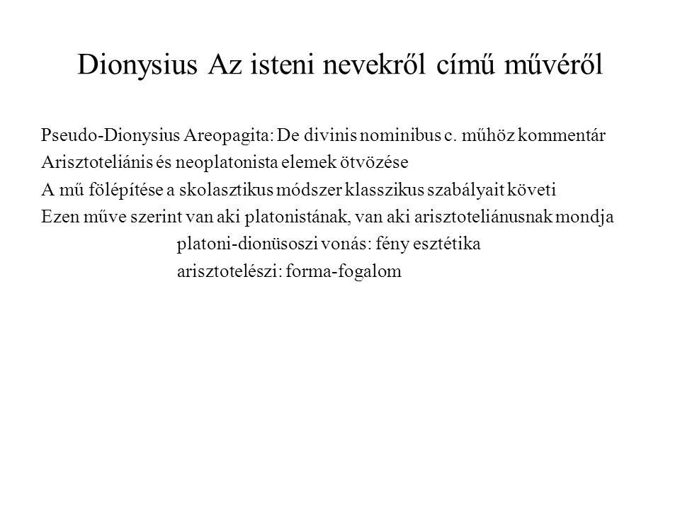 Dionysius Az isteni nevekről című művéről