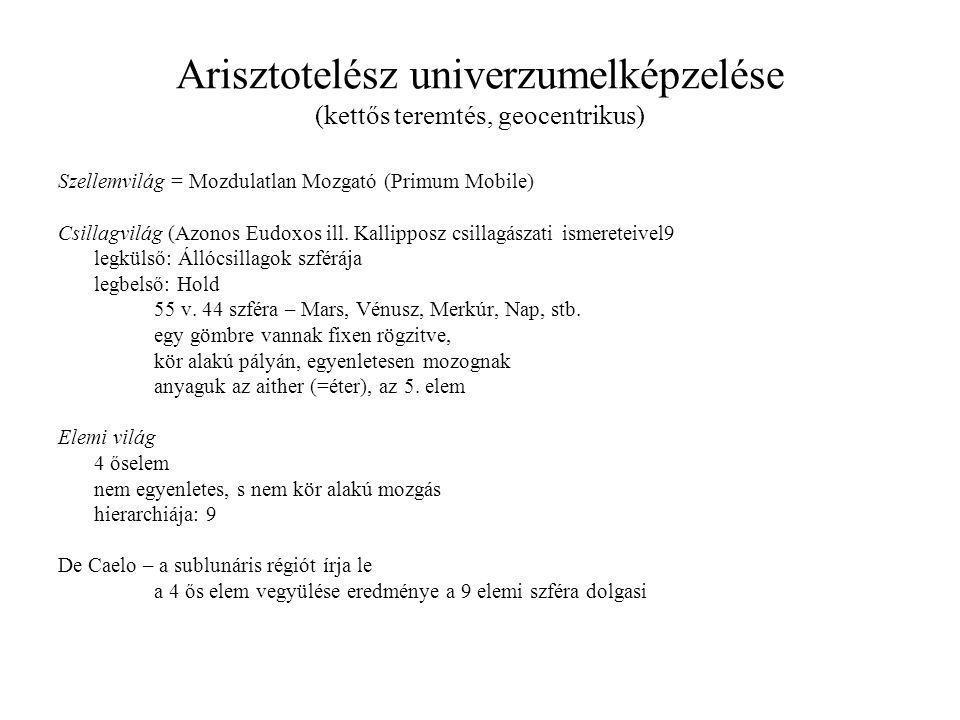 Arisztotelész univerzumelképzelése (kettős teremtés, geocentrikus)