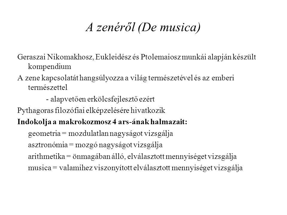 A zenéről (De musica) Geraszai Nikomakhosz, Eukleidész és Ptolemaiosz munkái alapján készült kompendium.