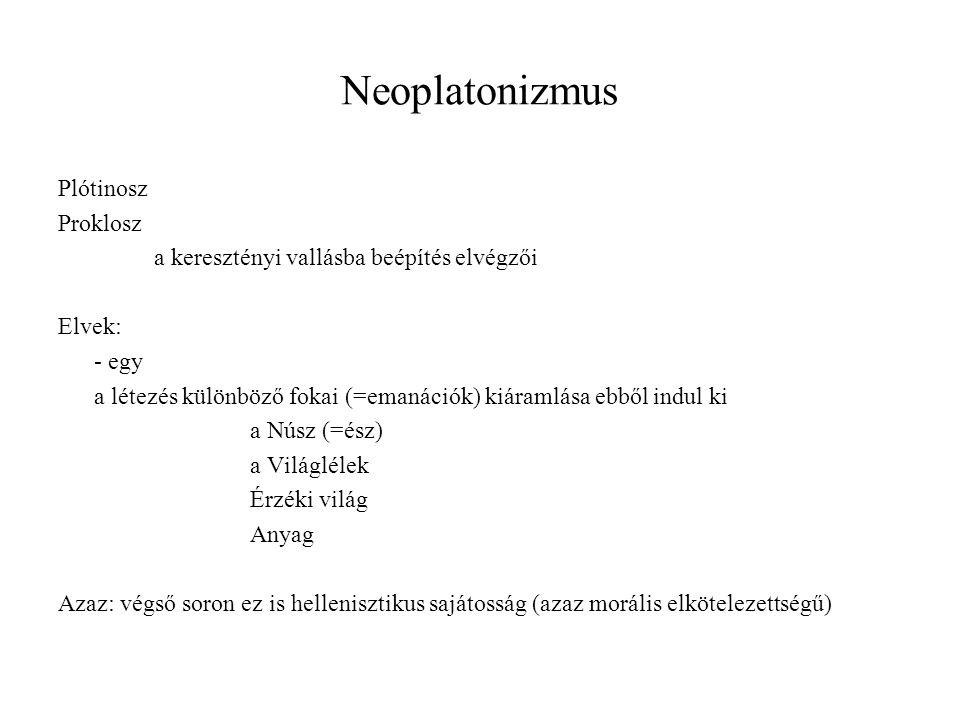 Neoplatonizmus Plótinosz Proklosz