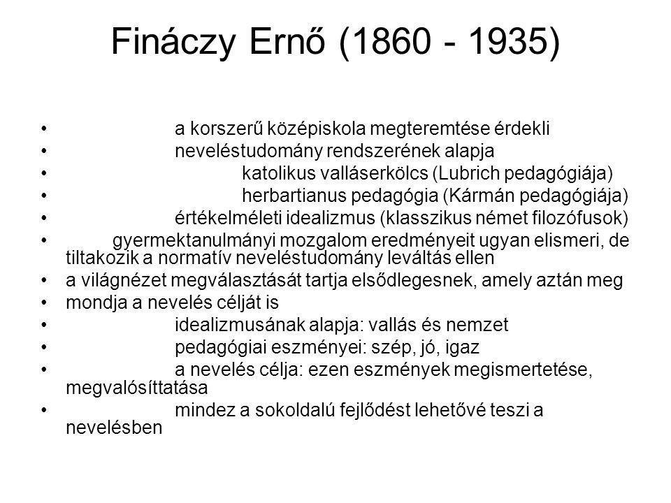 Fináczy Ernő (1860 - 1935) a korszerű középiskola megteremtése érdekli