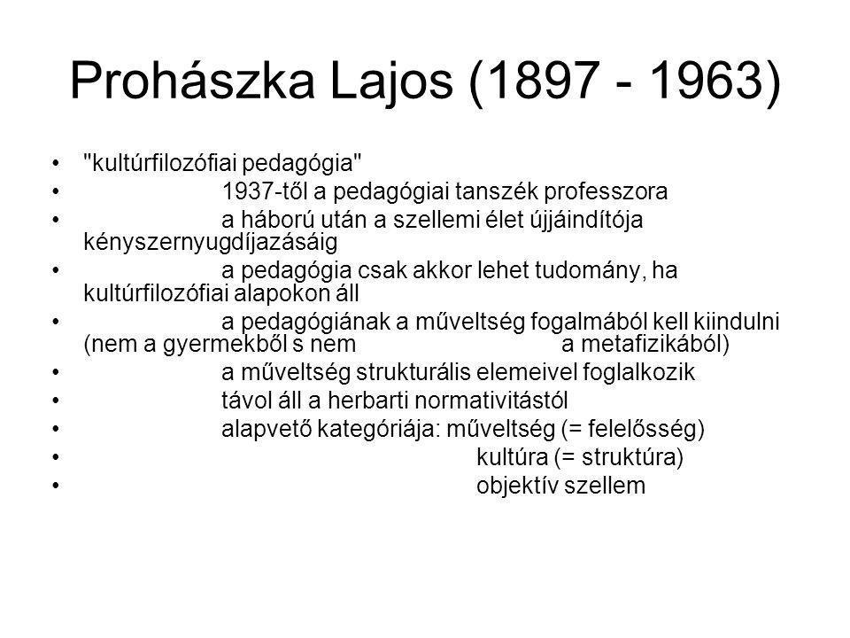 Prohászka Lajos (1897 - 1963) kultúrfilozófiai pedagógia