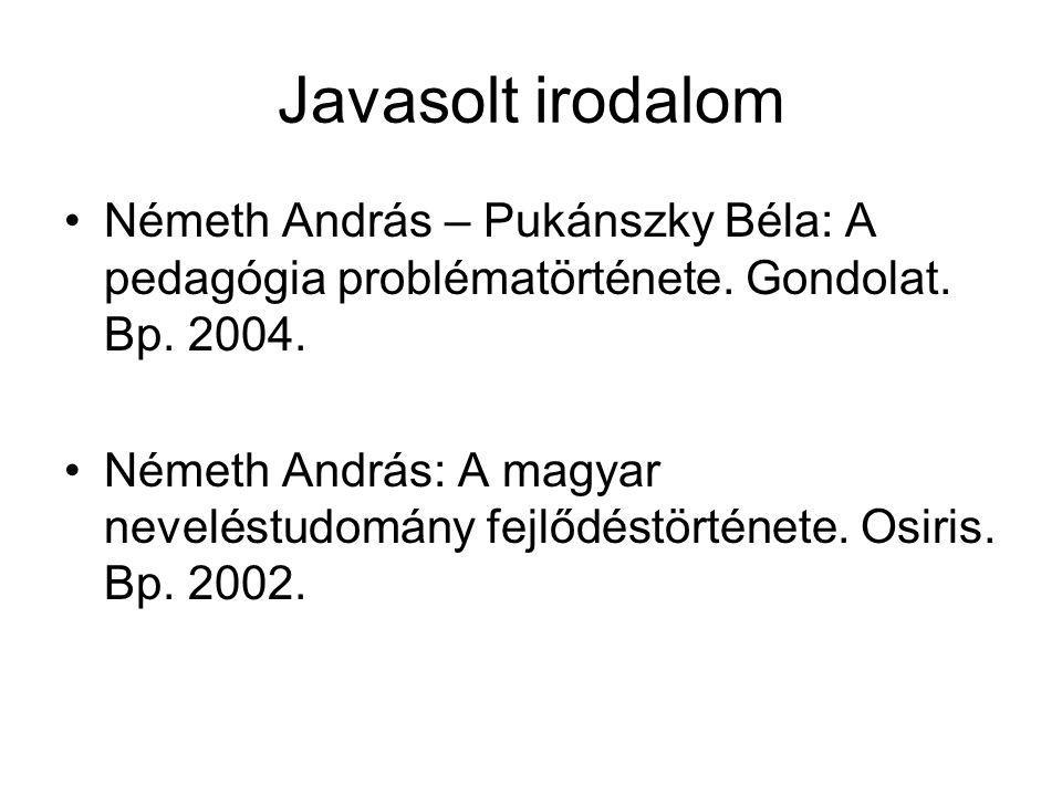 Javasolt irodalom Németh András – Pukánszky Béla: A pedagógia problématörténete. Gondolat. Bp. 2004.