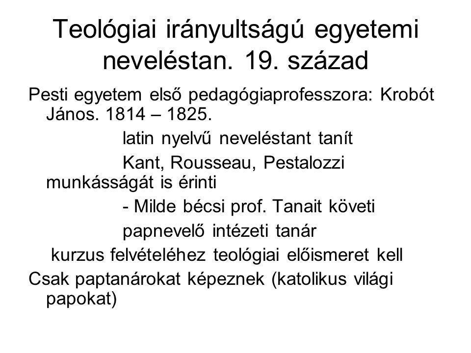 Teológiai irányultságú egyetemi neveléstan. 19. század
