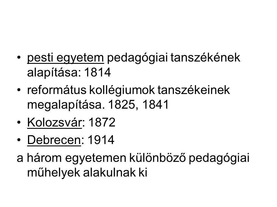 pesti egyetem pedagógiai tanszékének alapítása: 1814