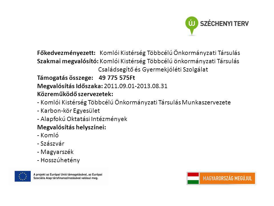 Főkedvezményezett: Komlói Kistérség Többcélú Önkormányzati Társulás