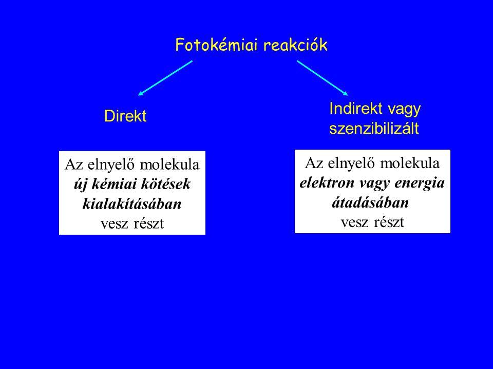 Fotokémiai reakciók Indirekt vagy. szenzibilizált. Direkt. Az elnyelő molekula. új kémiai kötések.