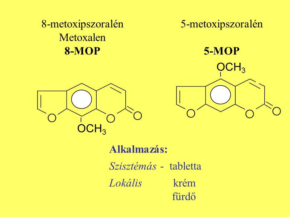 8-metoxipszoralén Metoxalen. 8-MOP. 5-metoxipszoralén. 5-MOP. OCH3. OCH3. Alkalmazás: Szisztémás - tabletta.