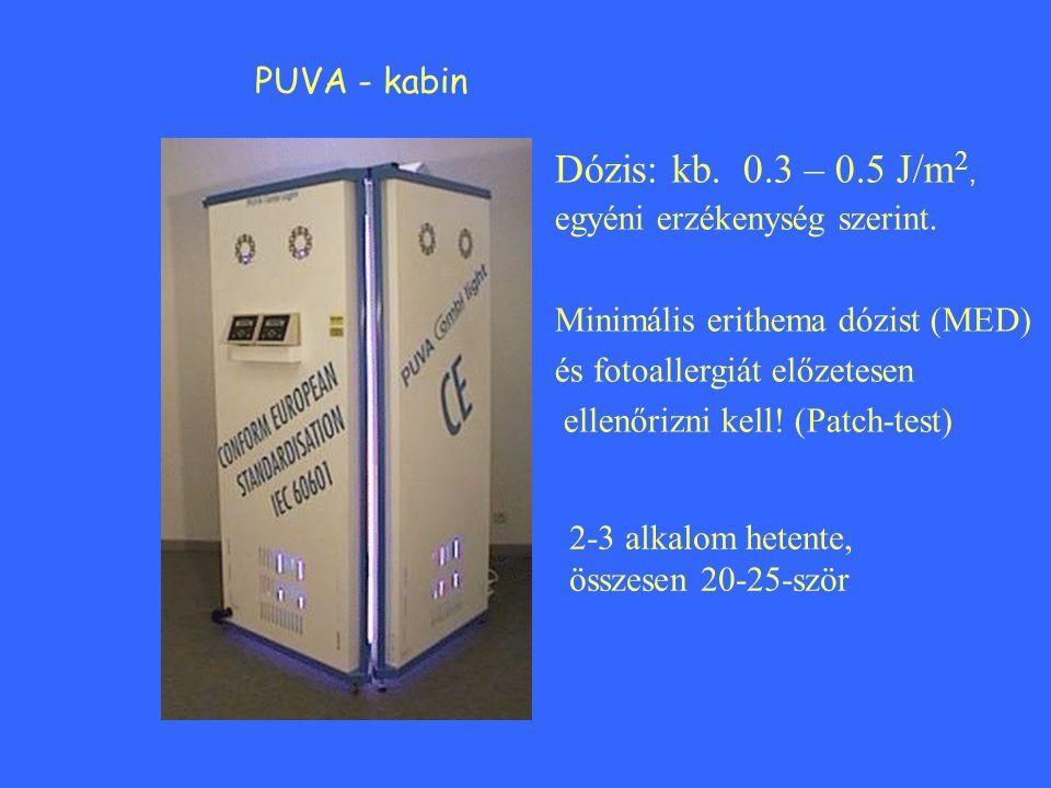 Dózis: kb. 0.3 – 0.5 J/m2, PUVA - kabin egyéni erzékenység szerint.