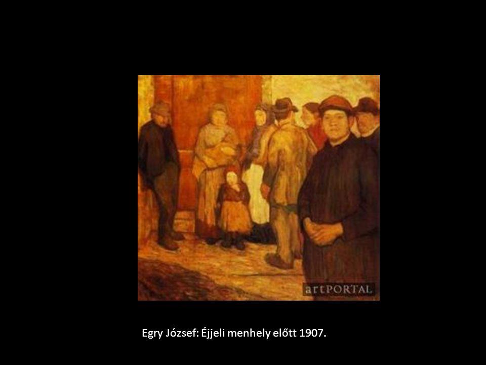 Egry József: Éjjeli menhely előtt 1907.