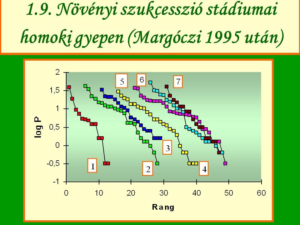 1.9. Növényi szukcesszió stádiumai homoki gyepen (Margóczi 1995 után)