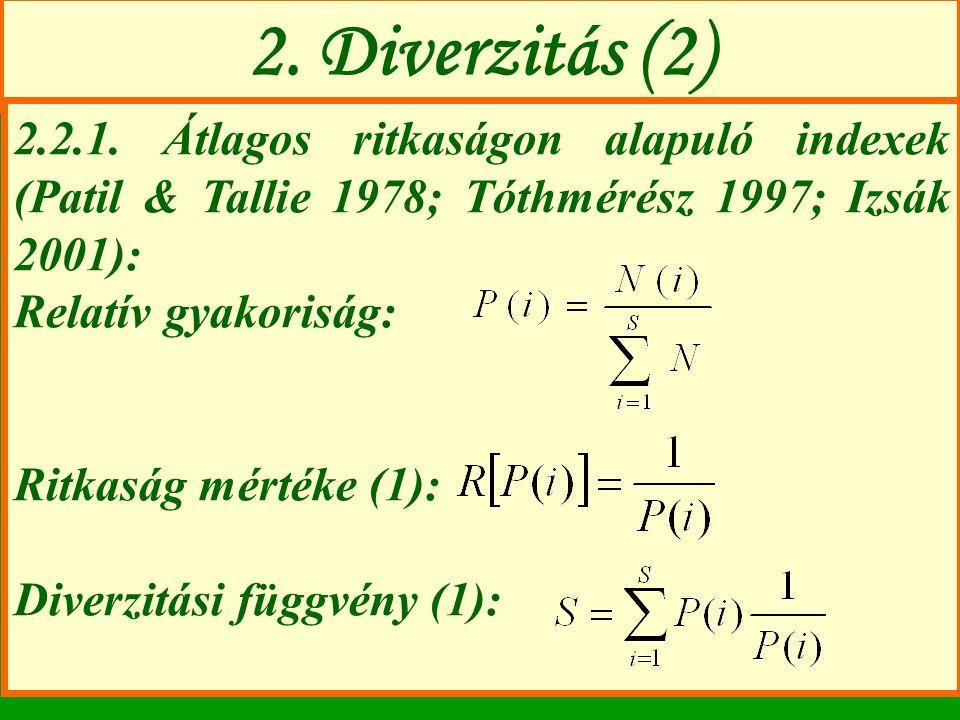 2. Diverzitás (2) 2.2.1. Átlagos ritkaságon alapuló indexek (Patil & Tallie 1978; Tóthmérész 1997; Izsák 2001):