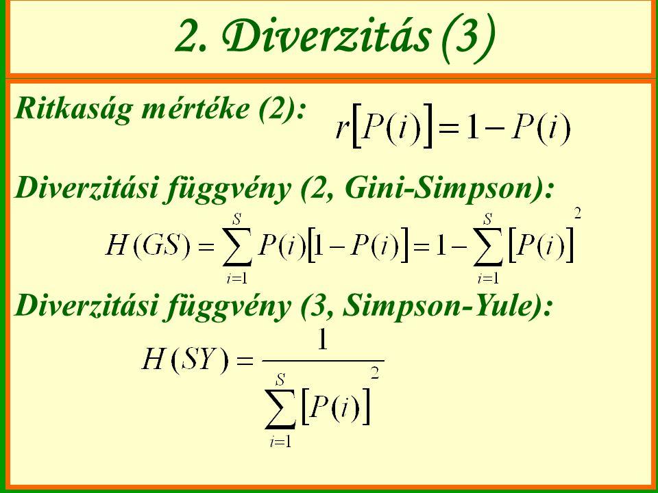 2. Diverzitás (3) Ritkaság mértéke (2):