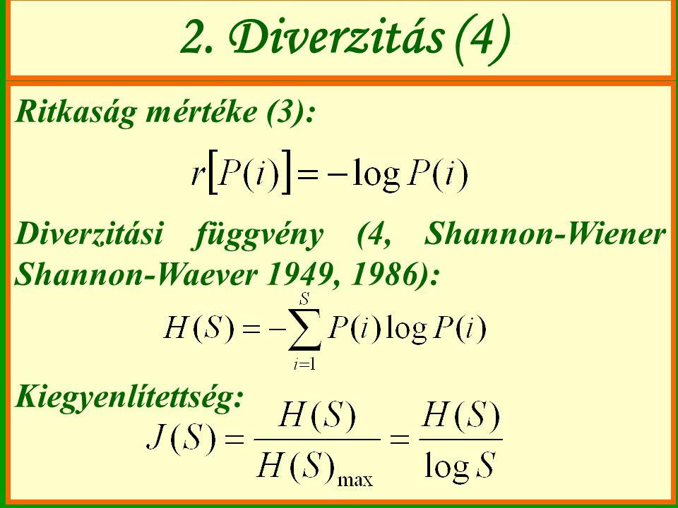 2. Diverzitás (4) Ritkaság mértéke (3):