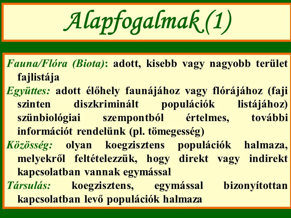 Alapfogalmak (1) Fauna/Flóra (Biota): adott, kisebb vagy nagyobb terület fajlistája.