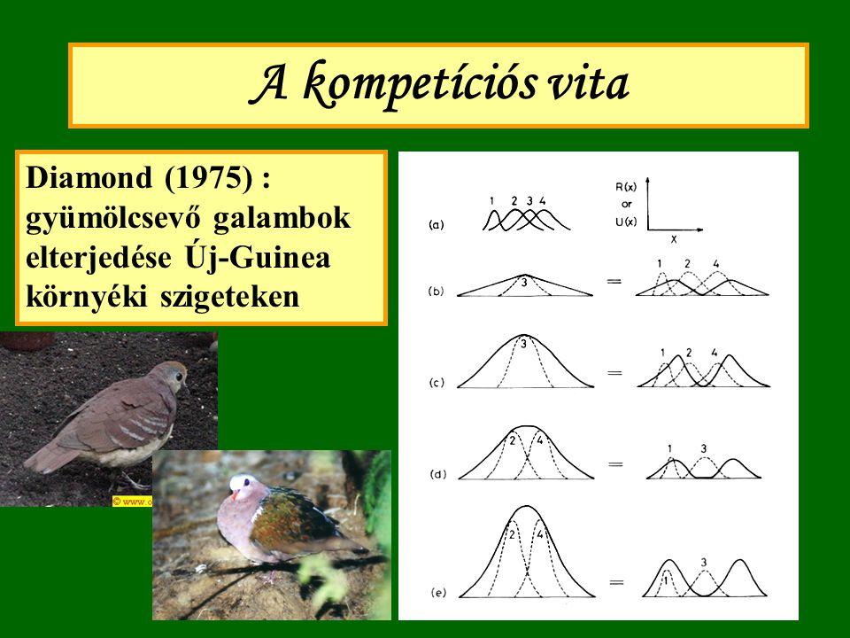 A kompetíciós vita Diamond (1975) : gyümölcsevő galambok elterjedése Új-Guinea környéki szigeteken.