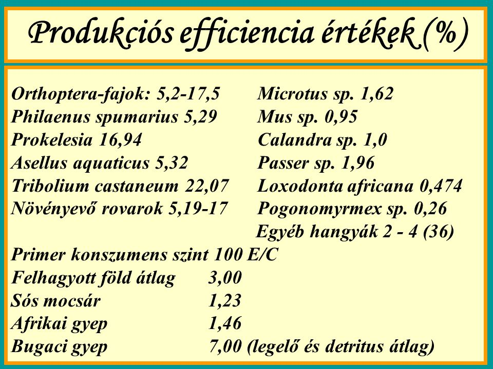 Produkciós efficiencia értékek (%)