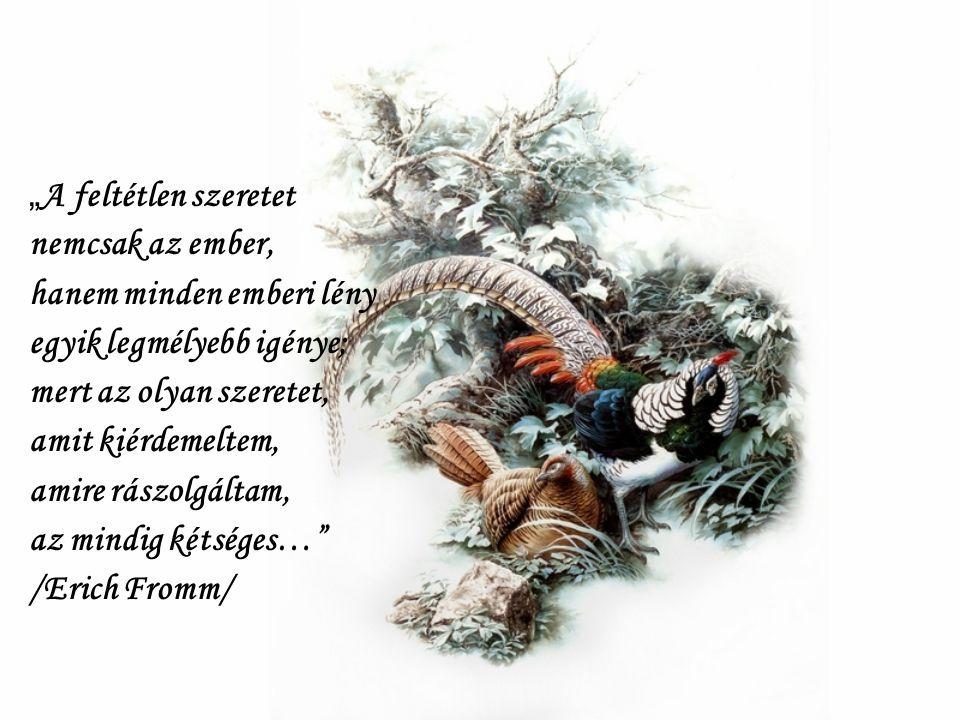 """""""A feltétlen szeretet nemcsak az ember, hanem minden emberi lény. egyik legmélyebb igénye; mert az olyan szeretet,"""
