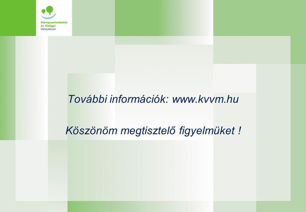 További információk: www.kvvm.hu Köszönöm megtisztelő figyelmüket !