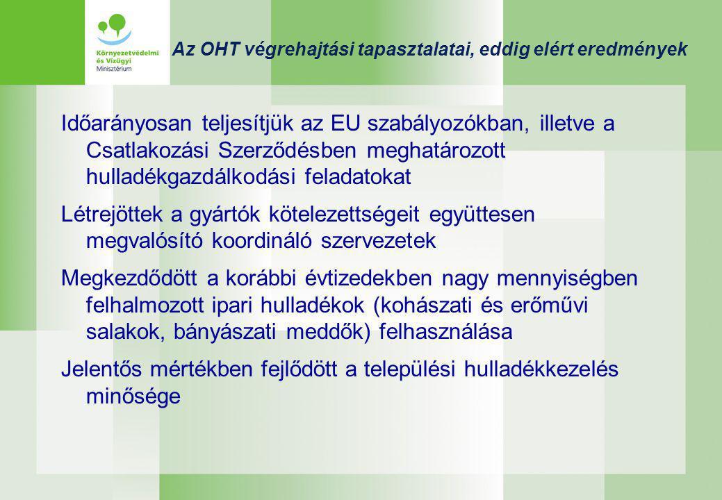 Az OHT végrehajtási tapasztalatai, eddig elért eredmények