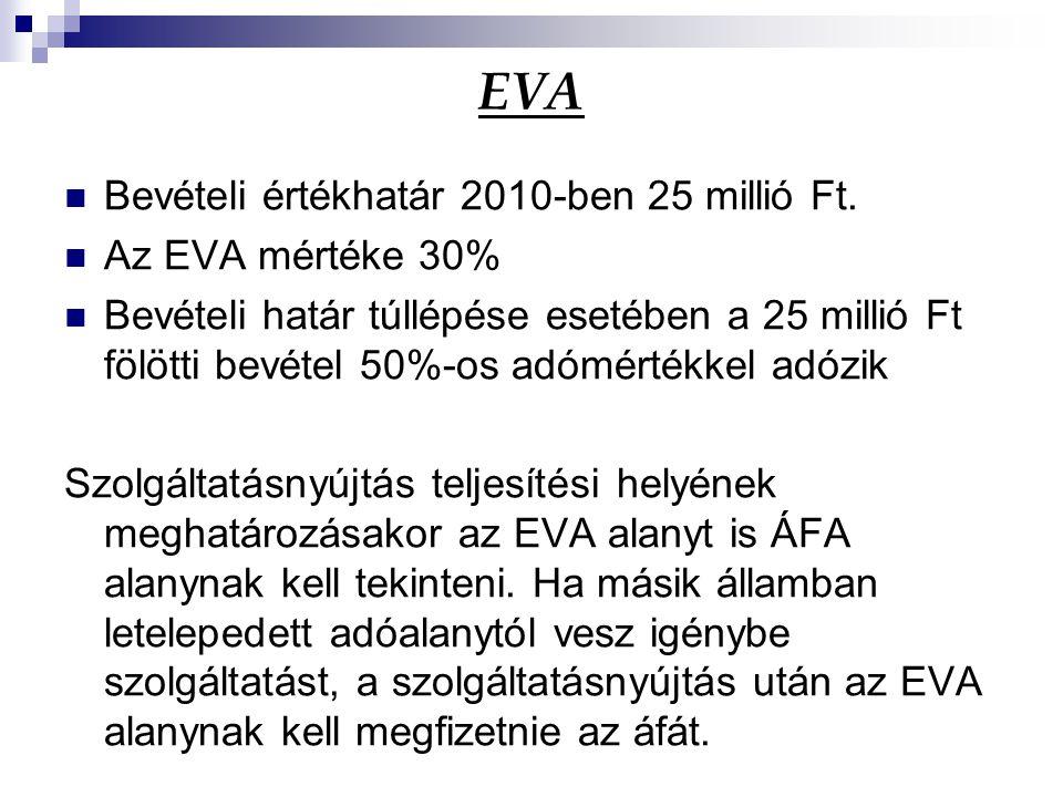 EVA Bevételi értékhatár 2010-ben 25 millió Ft. Az EVA mértéke 30%