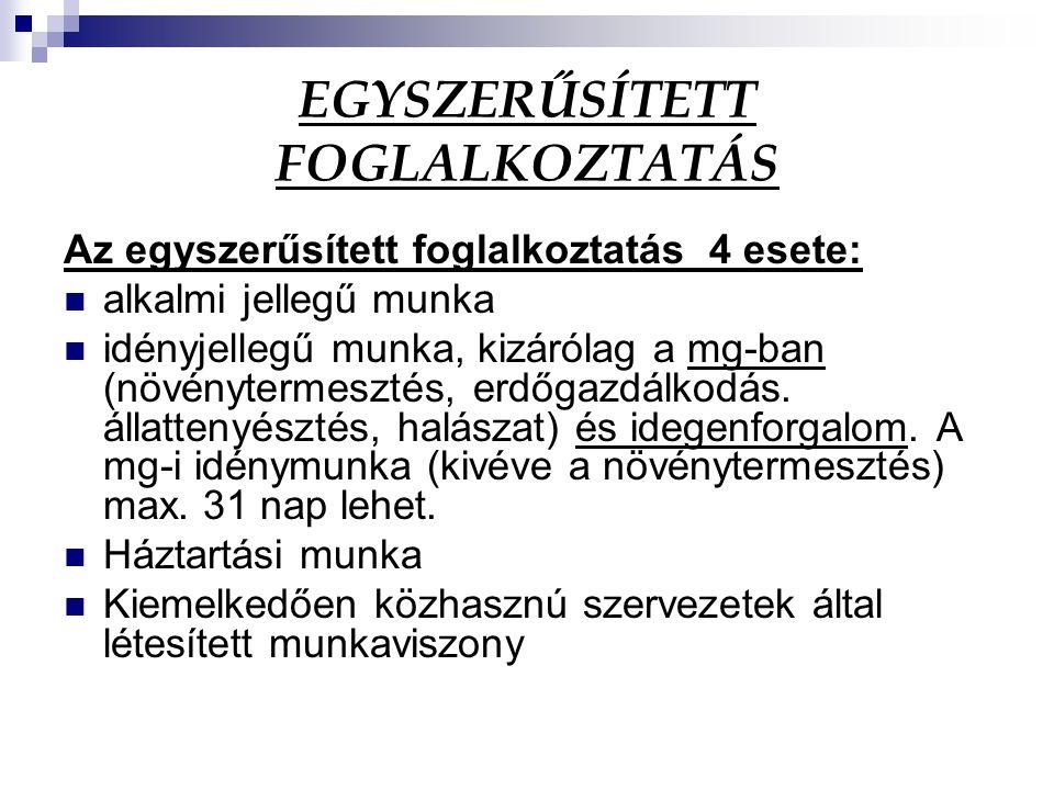 EGYSZERŰSÍTETT FOGLALKOZTATÁS