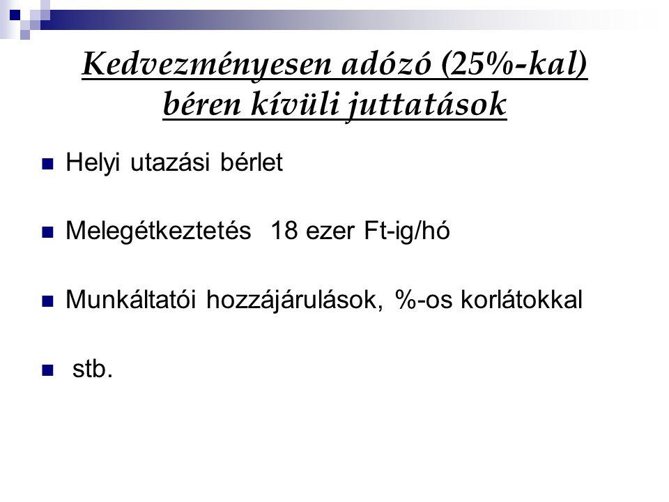 Kedvezményesen adózó (25%-kal) béren kívüli juttatások