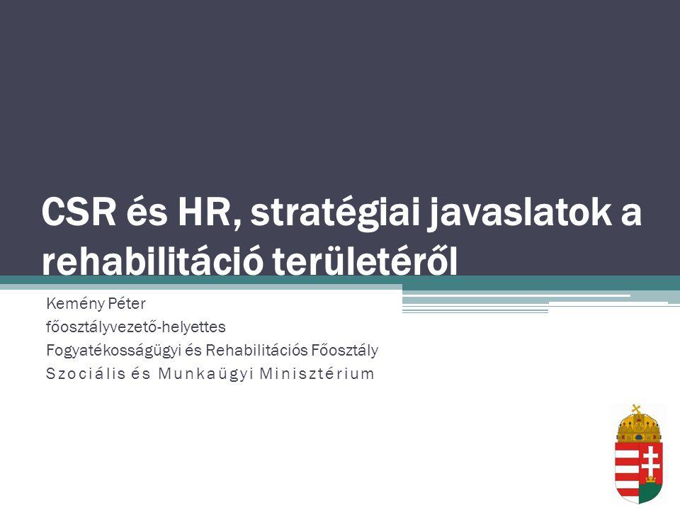 CSR és HR, stratégiai javaslatok a rehabilitáció területéről