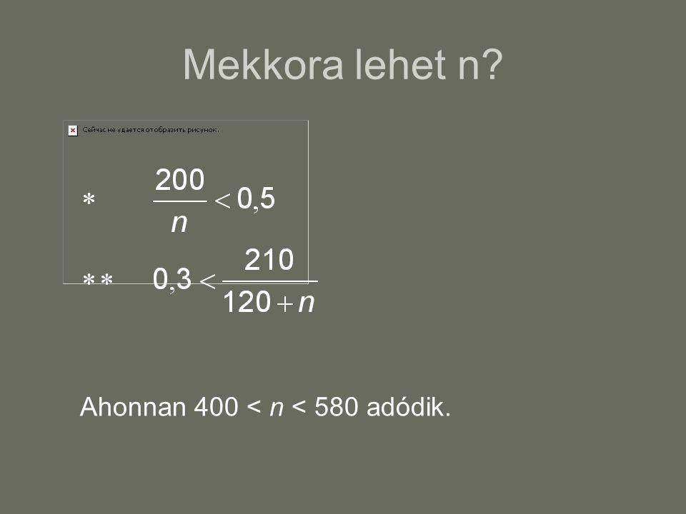 Mekkora lehet n Ahonnan 400 < n < 580 adódik.