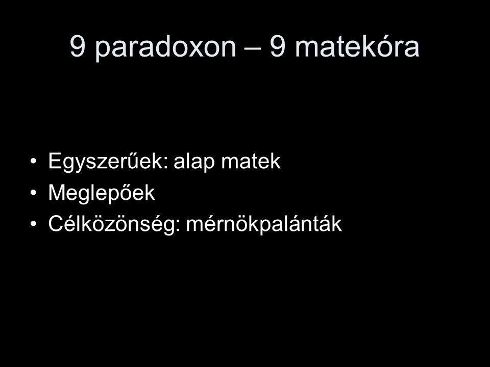 9 paradoxon – 9 matekóra Egyszerűek: alap matek Meglepőek