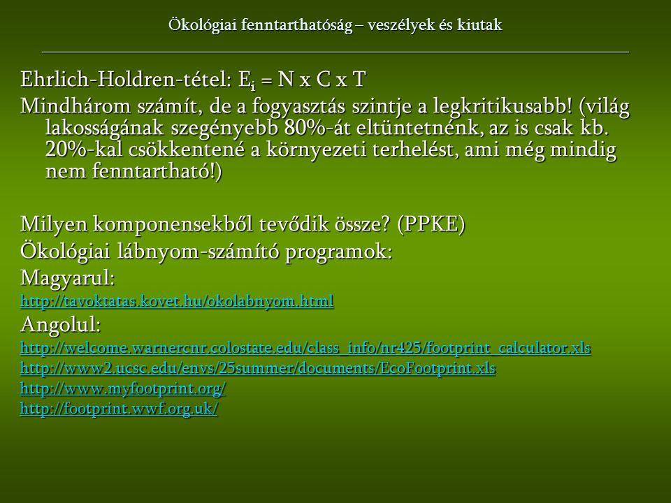 Ehrlich-Holdren-tétel: Ei = N x C x T