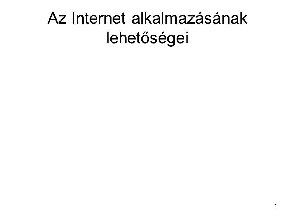 Az Internet alkalmazásának lehetőségei