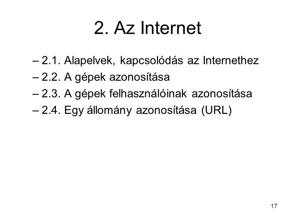 2. Az Internet 2.1. Alapelvek, kapcsolódás az Internethez