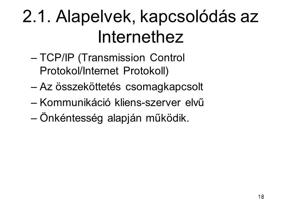 2.1. Alapelvek, kapcsolódás az Internethez