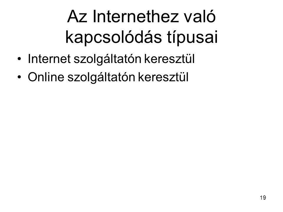 Az Internethez való kapcsolódás típusai