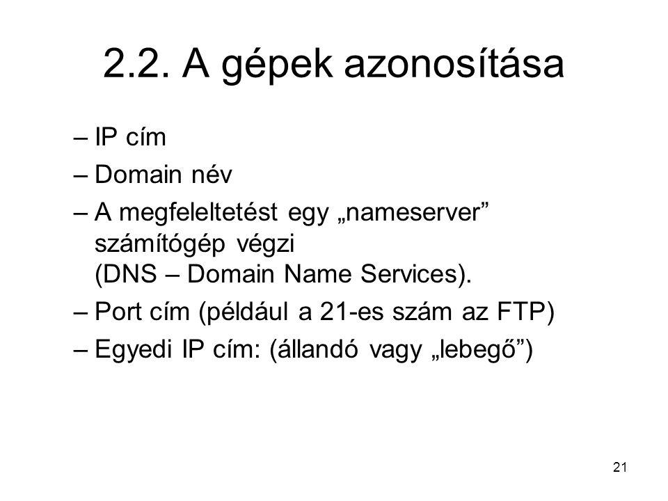 2.2. A gépek azonosítása IP cím Domain név