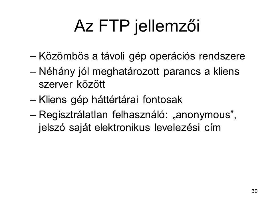 Az FTP jellemzői Közömbös a távoli gép operációs rendszere