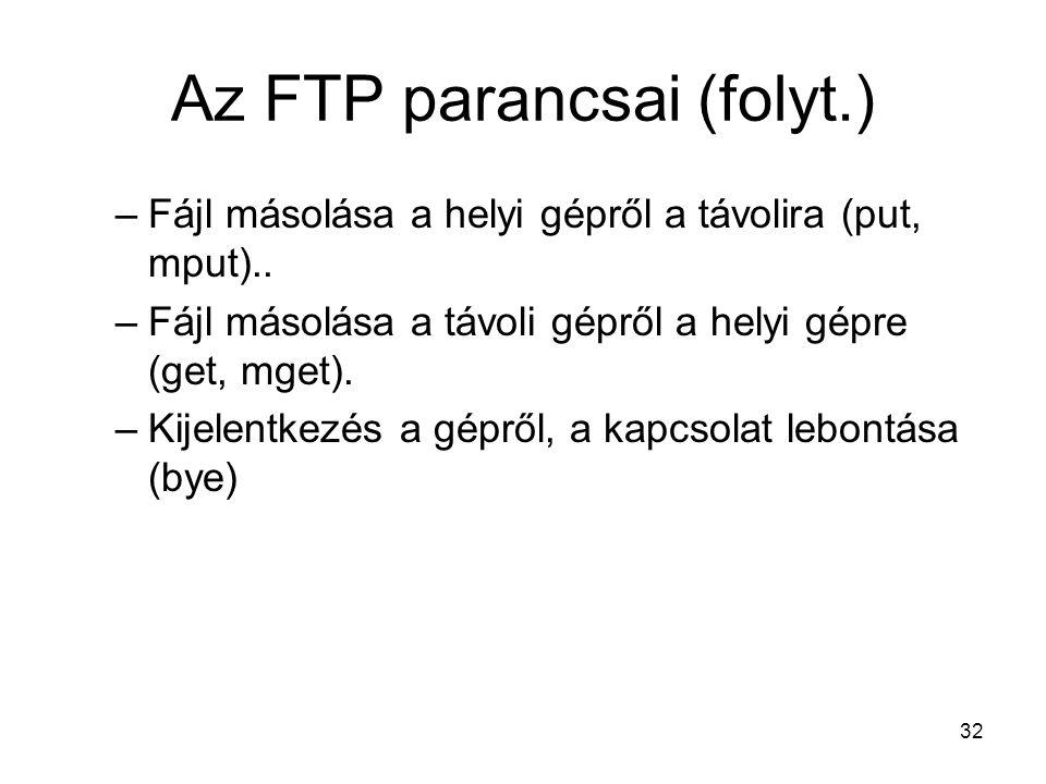 Az FTP parancsai (folyt.)