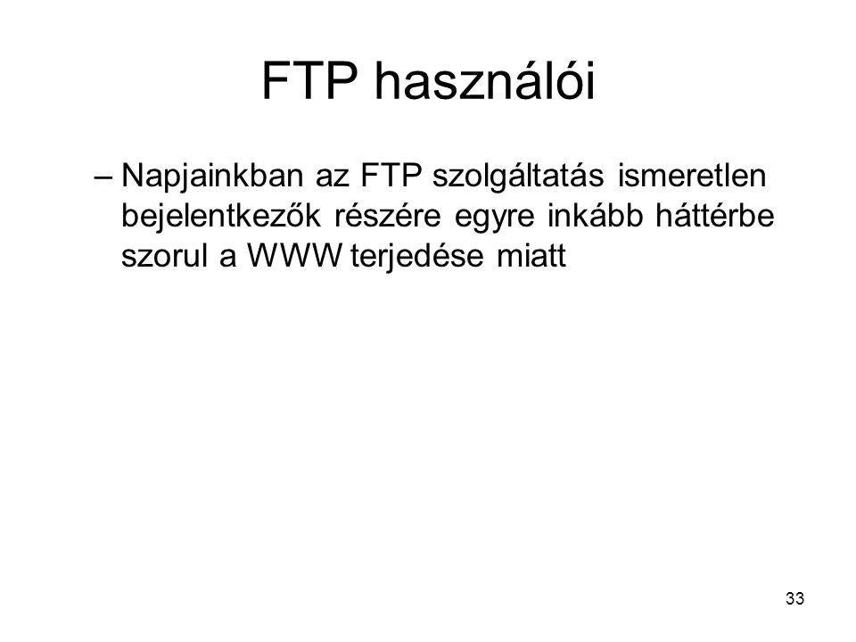 FTP használói Napjainkban az FTP szolgáltatás ismeretlen bejelentkezők részére egyre inkább háttérbe szorul a WWW terjedése miatt.