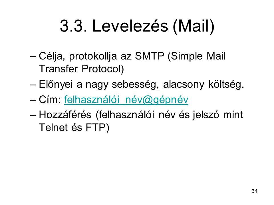 3.3. Levelezés (Mail) Célja, protokollja az SMTP (Simple Mail Transfer Protocol) Előnyei a nagy sebesség, alacsony költség.