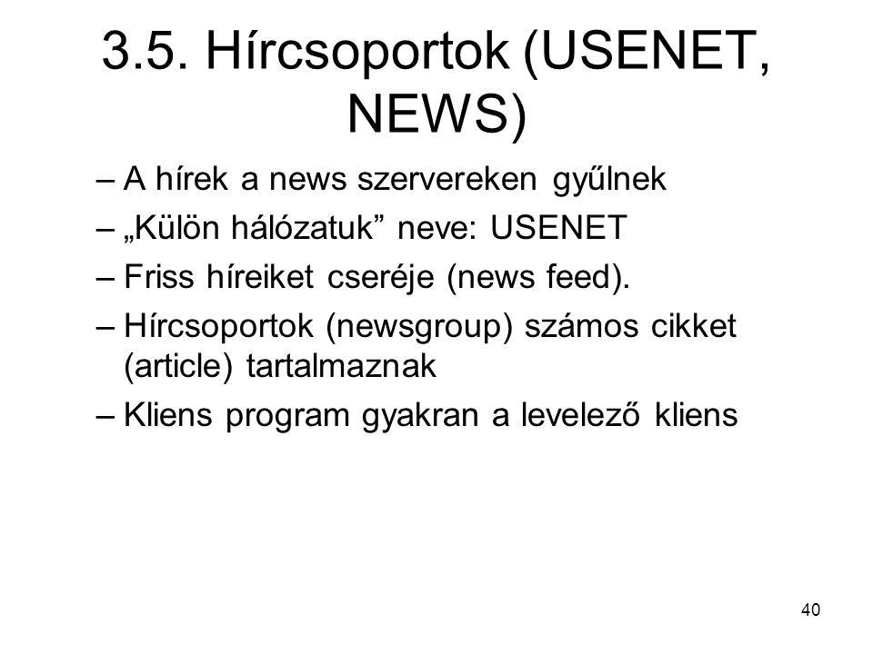 3.5. Hírcsoportok (USENET, NEWS)